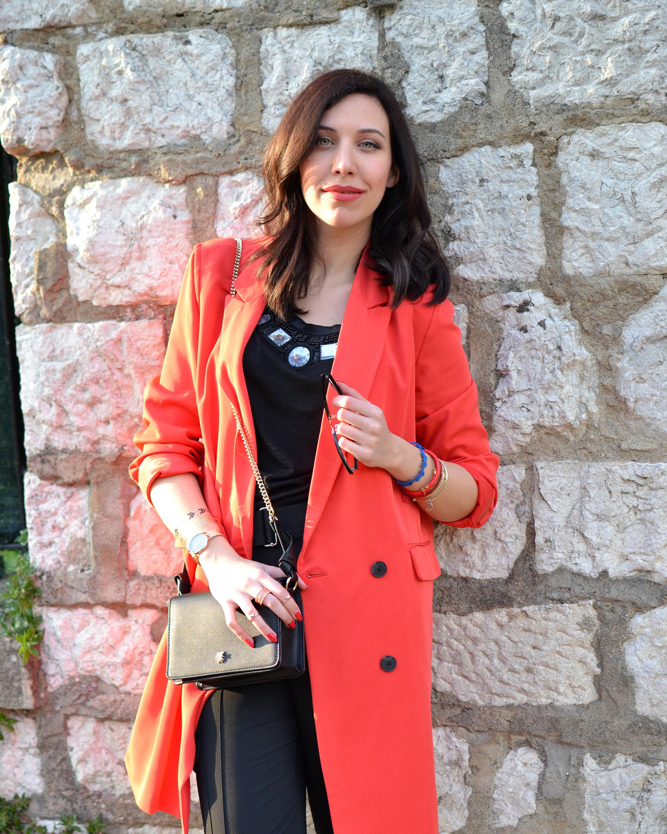 giacca lunga fragola