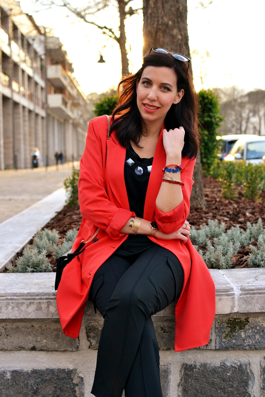 giacca lunga rossa
