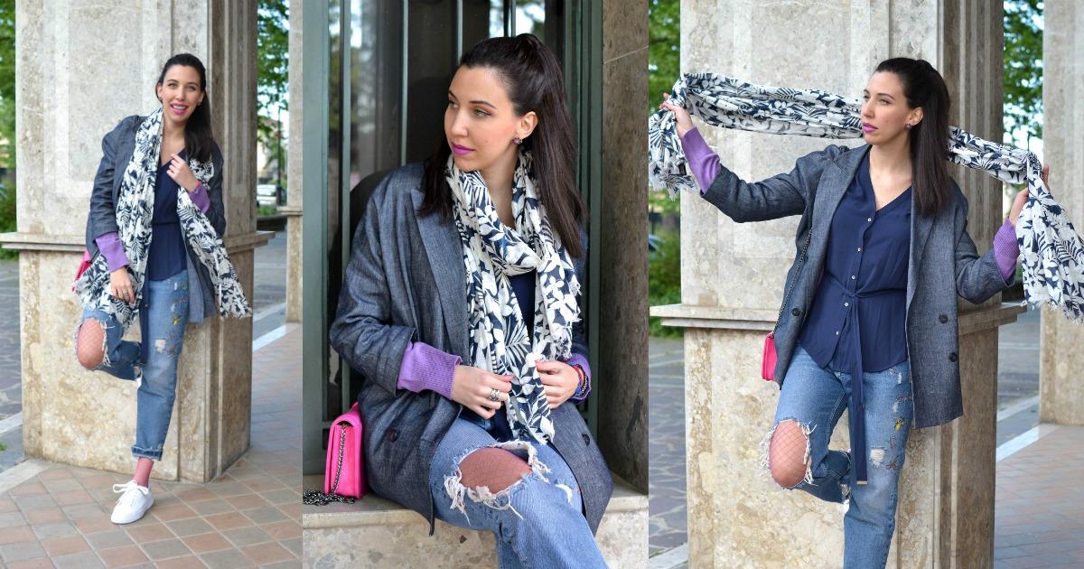 Outfit: Jeans strappati e calze a rete colorate - Lo stile ...