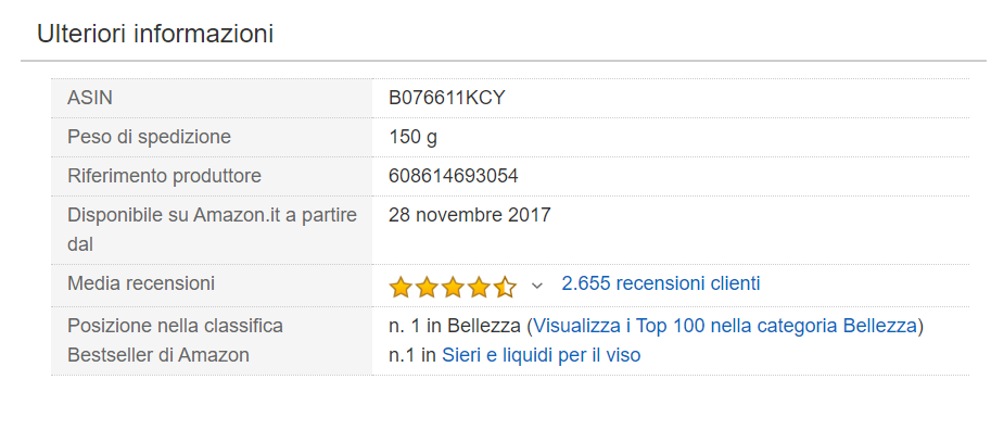 siero viso n1 su amazon