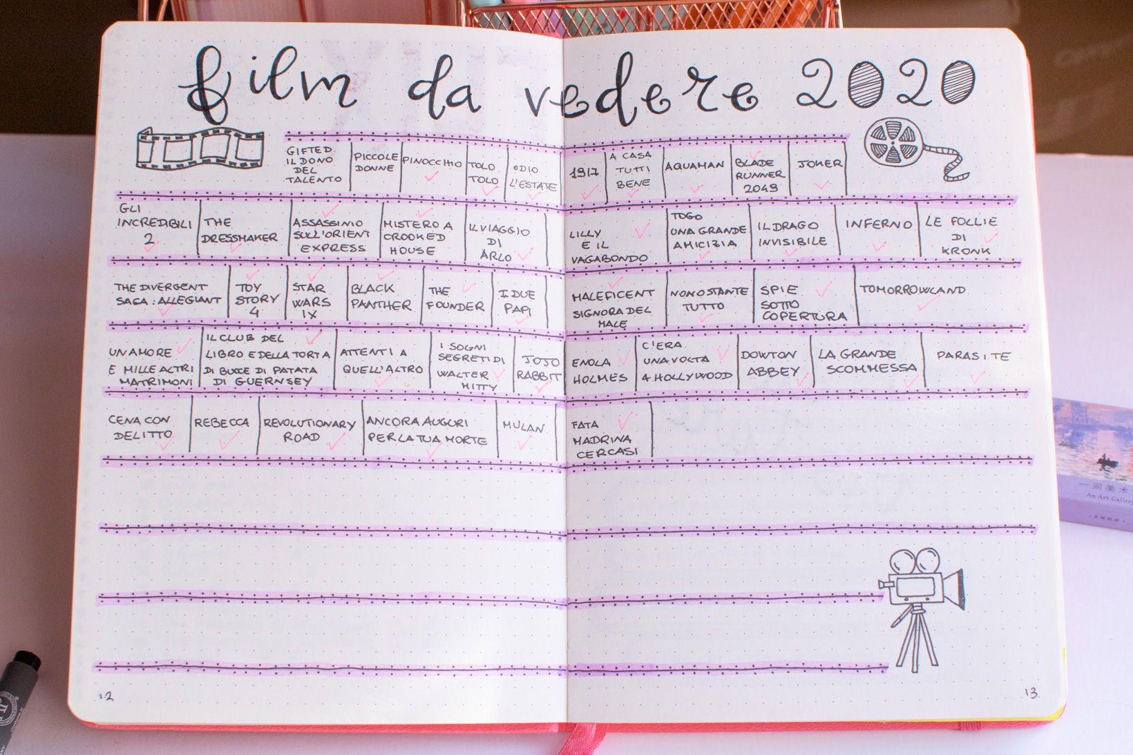 bullet journal tracker movies