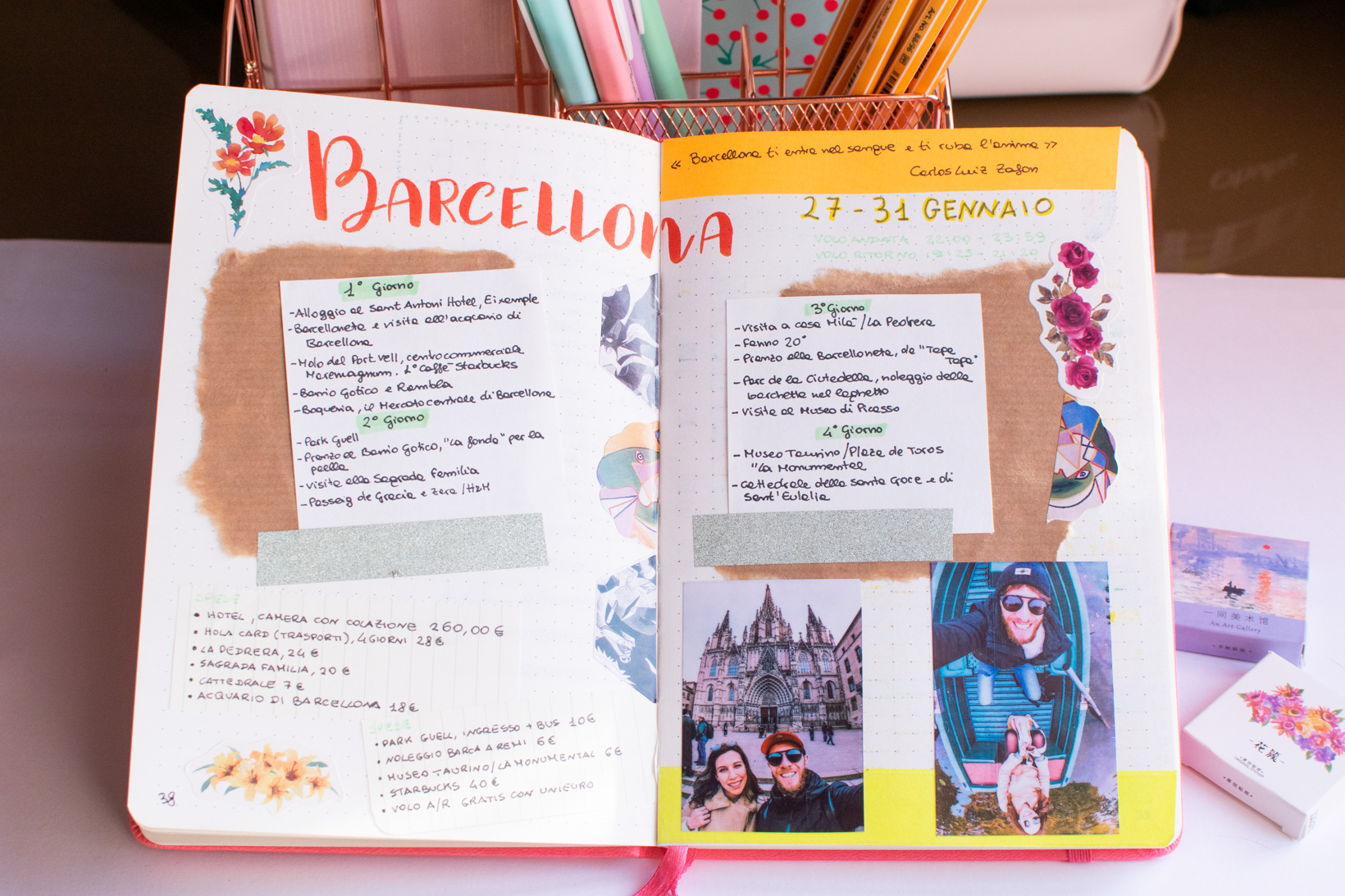 bullet journal tematico viaggi